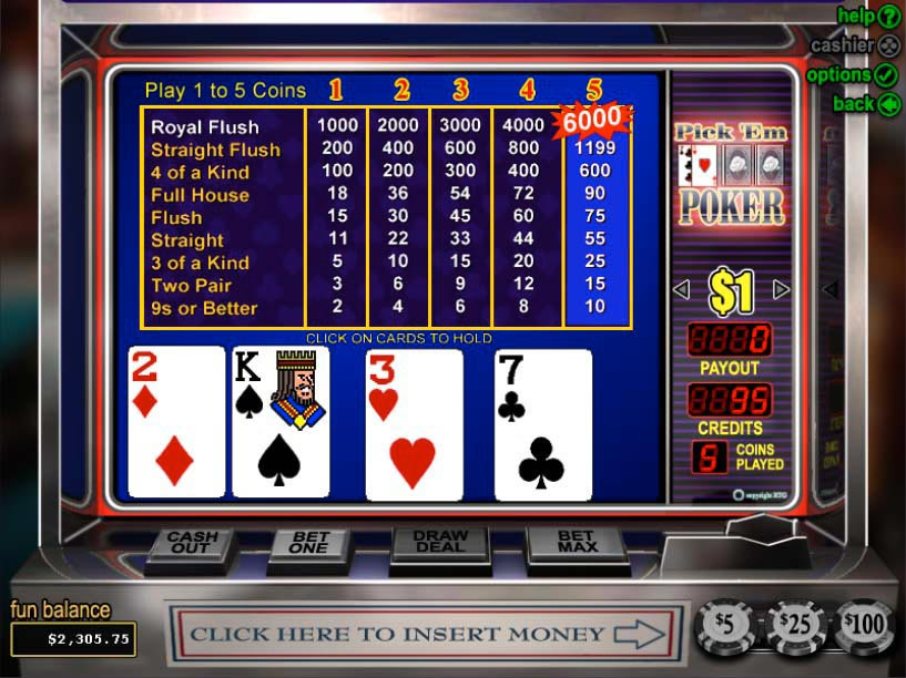 Play Pick 'Em Video Poker Online at Casino.com India